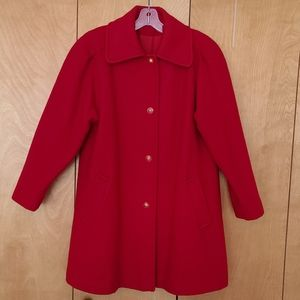 Sequence wool jacket swing coat red retro